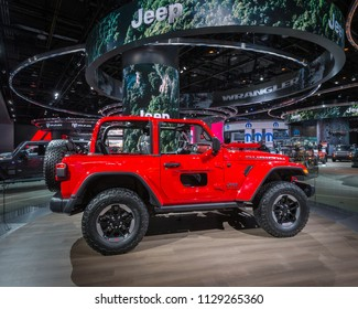 DETROIT, MI/USA - JANUARY 17, 2018: A 2018 Jeep Wrangler Rubicon car at the North American International Auto Show (NAIAS), one of the most influential car shows in the world each year.