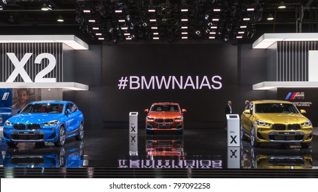 DETROIT, MI/USA - JANUARY 17, 2018: Three BMW X2 cars at the North American International Auto Show (NAIAS), one of the most influential car shows in the world each year.