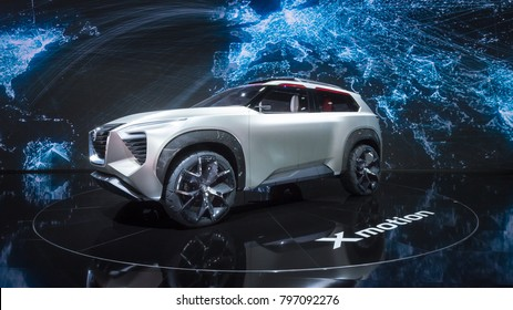DETROIT, MI/USA - JANUARY 17, 2018: A Nissan Xmotion Concept car at the North American International Auto Show (NAIAS), one of the most influential car shows in the world each year.