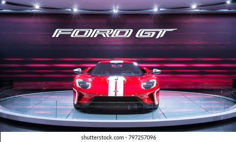 DETROIT, MI/USA - JANUARY 17, 2018: A 2018 Ford GT car at the North American International Auto Show (NAIAS), one of the most influential car shows in the world each year.