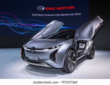 DETROIT, MI/USA - JANUARY 17, 2018: A GAC Enverge Concept  car with gull-wing doors at the North American International Auto Show (NAIAS).