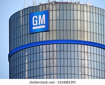Detroit, MI/USA - July 2, 2015: General Motors corporate sign atop the Renaissance Center, where its global headquarters are housed, in downtown Detroit, Mich.