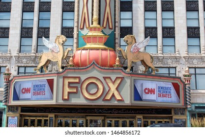 Detroit, MI/USA: July 29, 2019 – Iconic Fox Theatre hosts CNN sponsored debates for Democrat presidential candidates. On National Register of Historic Places, it was fully restored in 1988.