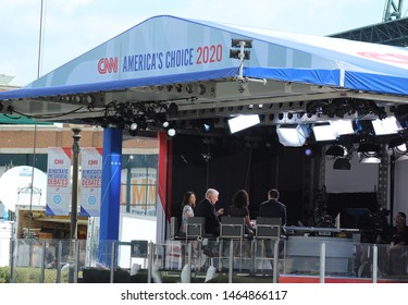 Detroit, MI/USA: July 29, 2019 – CNN broadcasts live from Woodward Avenue, outside Fox Theatre, location of debates for 2020 Democrat presidential candidates.