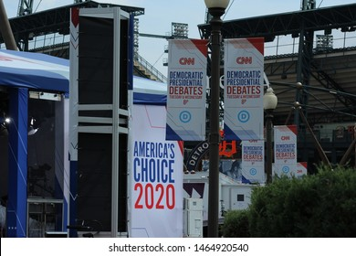 Detroit, MI/USA: July 29, 2019 – CNN signs and banners for live broadcast debate sponsorship at Fox Theatre in Detroit for 2020 Democrat presidential candidates. Background is Tigers Comerica Park.