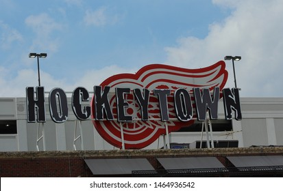 Detroit, MI/USA: July 29, 2019 –Hockeytown sign on popular Woodward Ave pub, founded by Detroit Red Wings owner Mike Ilitch. Celebrates the franchise with hockey memorabilia. Next to Fox Theatre.