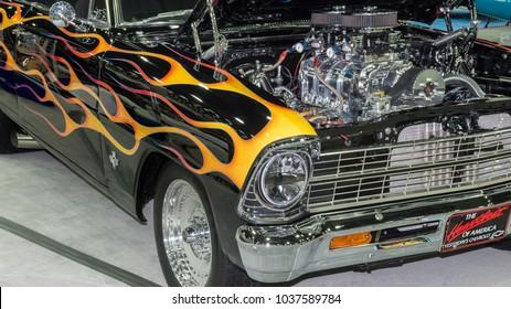 DETROIT, MI/USA - March 2, 2018: A 1967 Chevrolet Nova car interpretation, on display at the Detroit Autorama, a showcase of custom and restored cars.