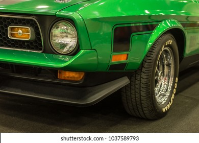 DETROIT, MI/USA - March 2, 2018: A 1971 Ford Mustang Mach 1 car restoration, on display at the Detroit Autorama, a showcase of custom and restored cars. Owner: celebrity / musician / singer Bob Seger