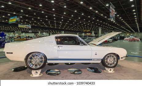 DETROIT, MI/USA - March 2, 2018: A 1968 Ford Shelby Mustang GT-350 car restoration, on display at the Detroit Autorama, a showcase of custom and restored cars.