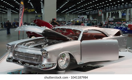 "DETROIT, MI/USA - March 4, 2018: A 1957 Chevrolet 150 interpretation,""Great 8"" finalist and Ridler trophy winner, on display at the Detroit Autorama, a showcase of custom and restored cars."