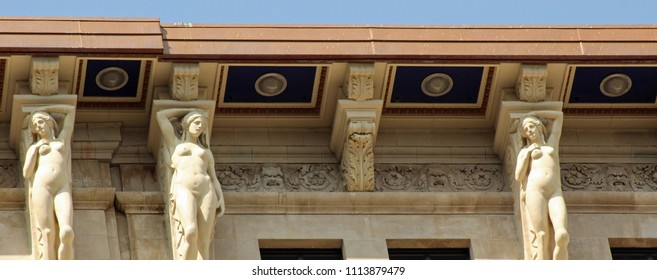 Detroit, MI/USA: Sept. 2, 2017 – The 13 story Book Building, built in Italian Renaissance style, features Caryatids, sculptured female figures as ornamental support in place of columns or pilasters.