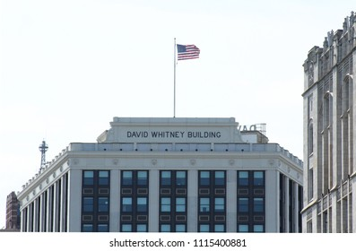 Detroit, MI/USA: Sept. 2, 2017 – David Whitney Building, opened 1915, is one of three surviving Detroit buildings by architect Daniel Burnham. In 1959 the building's classic exterior was remodeled.