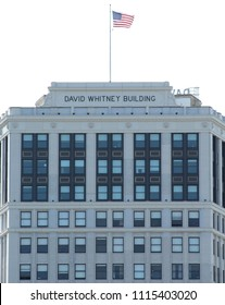 Detroit, MI/USA: Sept. 2, 2017 – David Whitney Building opened 1915. One of most important structures in Detroit. Charles Lindbergh's mother was born in 1876 on the site where the building now sits.