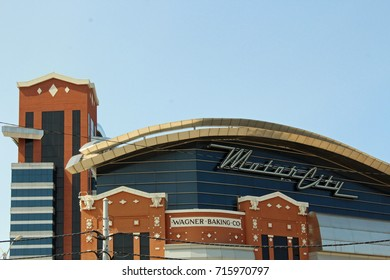 Detroit MI/USA: Sept. 2, 2017 – Motor City Casino is housed in renovated historic Wagner Baking Company building. Wonder Bread and Hostess parent company Continental Baking acquired Wagner in 1925.