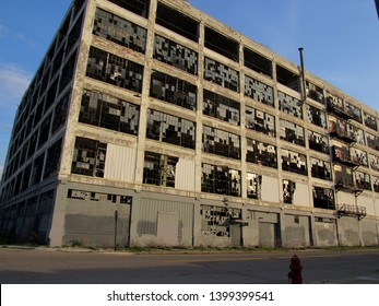 Detroit, MI/USA-5/15/19: The northeast corner of the ruined Fisher auto body plant #21 on Piquette Ave. and Hastings St.
