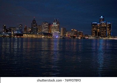 Detroit Night Panoramic Skyline November 2017