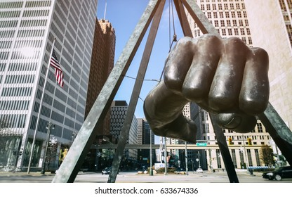 "DETROIT - NOVEMBER 29, 2013: The Monument to Joe Louis, known also as ""The Fist"", a memorial to the boxer at Detroit's Hart Plaza."