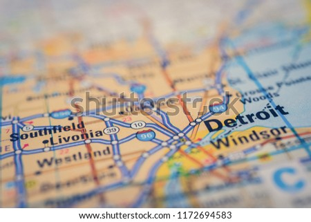 Detroit On Map Stock Photo (Edit Now) 1172694583 - Shutterstock on