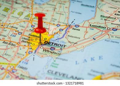 Detroit In Usa Map.Map City Detroit Images Stock Photos Vectors Shutterstock