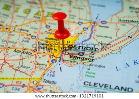 Detroit In Usa Map on