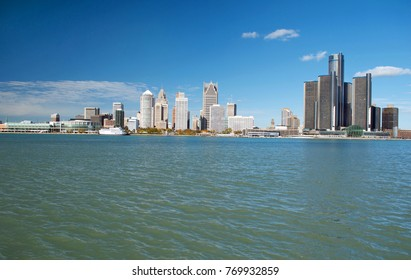 Detroit Panoramic View From Canada November 2017