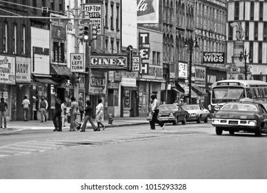 DETROIT – SEPTEMBER 3, 1979: city life in Farmer street. Vintage picture taken in 1979.