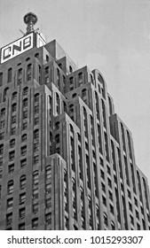 DETROIT – SEPTEMBER 3, 1979: downtown old buildings. Vintage picture taken in 1979.