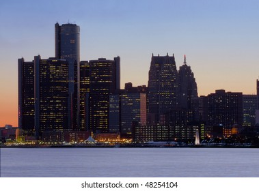 Detroit skyline just after sunset shot from Belle Isle Park