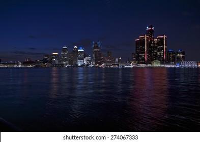 Detroit Skyline at Night 2015
