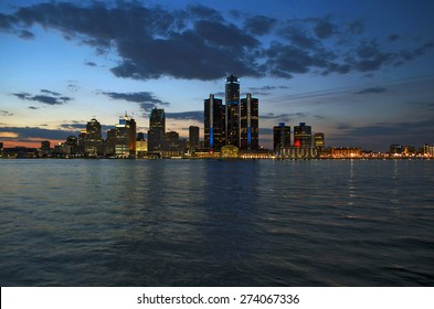 Detroit Skyline at Night 2015