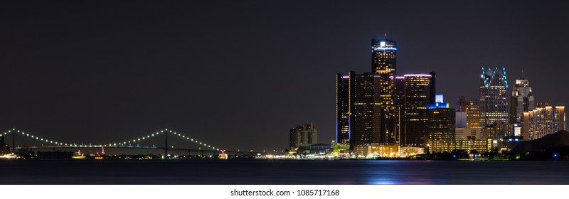 Detroit Skyline at Night. Panoramic image.