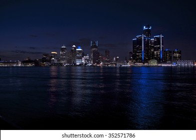 Detroit Skyline Night Shot From Canada