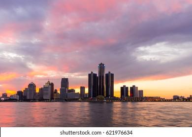 Detroit Skyline River Walk Red Sunset