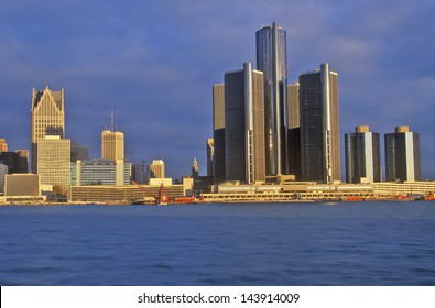 Detroit skyline at sunrise from Windsor, Canada