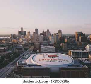 DETROIT, UNITED STATES - Aug 25, 2017: Sunrise drone shot of Detroit, MI. With views of newly completed Little Caesars Arena