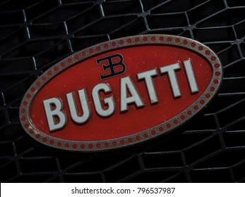 DETROIT, US - JANUARY 14, 2018: Bugatti Chiron badge on display during the North American International Auto Show at the Cobo Center in downtown Detroit.