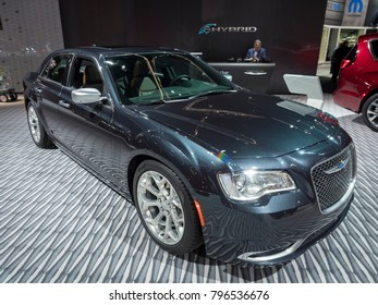 DETROIT, US - JANUARY 15, 2018: Chrysler 300c on display during the North American International Auto Show at the Cobo Center in downtown Detroit.