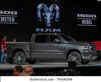 DETROIT, US - JANUARY 15, 2018: Dodge RAM 1500 on display during the North American International Auto Show at the Cobo Center in downtown Detroit.