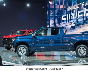 DETROIT, US - JANUARY 15, 2018: Chevrolet Silverado on display during the North American International Auto Show at the Cobo Center in downtown Detroit.