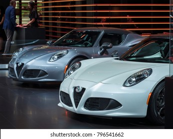 DETROIT, US - JANUARY 15, 2018: Alfa Romeo 4c on display during the North American International Auto Show at the Cobo Center in downtown Detroit.