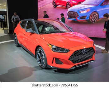 DETROIT, US - JANUARY 15, 2018: Hyundai Veloster on display during the North American International Auto Show at the Cobo Center in downtown Detroit.