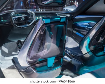DETROIT, US - JANUARY 15, 2018: GAC Motors Enverge concept on display during the North American International Auto Show at the Cobo Center in downtown Detroit.