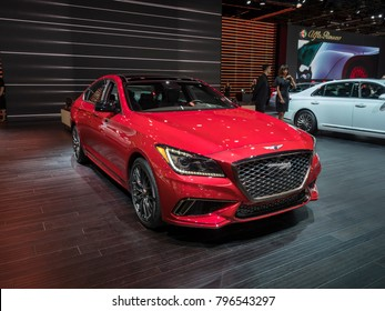 DETROIT, US - JANUARY 15, 2018: Genesis G80 Sport on display during the North American International Auto Show at the Cobo Center in downtown Detroit.