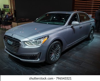 DETROIT, US - JANUARY 15, 2018: Genesis G90 on display during the North American International Auto Show at the Cobo Center in downtown Detroit.