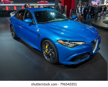 DETROIT, US - JANUARY 15, 2018: Alfa Romeo Giulia on display during the North American International Auto Show at the Cobo Center in downtown Detroit.