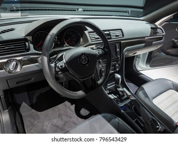 DETROIT, US - JANUARY 15, 2018: Volkswagen Passat GT on display during the North American International Auto Show at the Cobo Center in downtown Detroit.