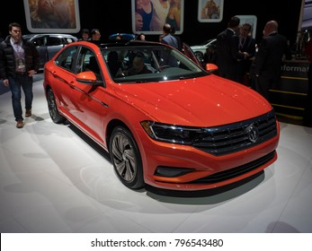 DETROIT, US - JANUARY 15, 2018: Volkswagen Jetta on display during the North American International Auto Show at the Cobo Center in downtown Detroit.