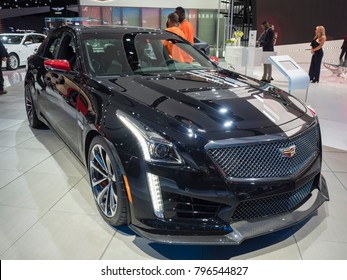 DETROIT, US - JANUARY 15, 2018: Cadillac CTS-V IMSA Championship Edition on display during the North American International Auto Show at the Cobo Center in downtown Detroit.