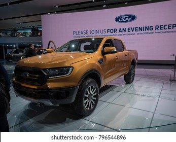 DETROIT, US - JANUARY 15, 2018: Ford Ranger pickup truck on display during the North American International Auto Show at the Cobo Center in downtown Detroit.