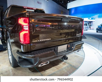 DETROIT, US - JANUARY 15, 2018: Chevrolet Silverado pickup truck on display during the North American International Auto Show at the Cobo Center in downtown Detroit.
